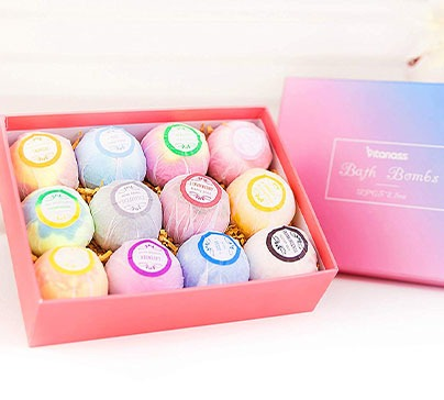 12 Bath Bombs Gift Set With Organic Shea