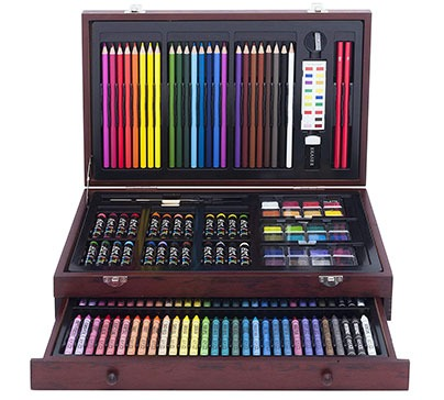142 Piece Art Set In Wooden Carrying Case