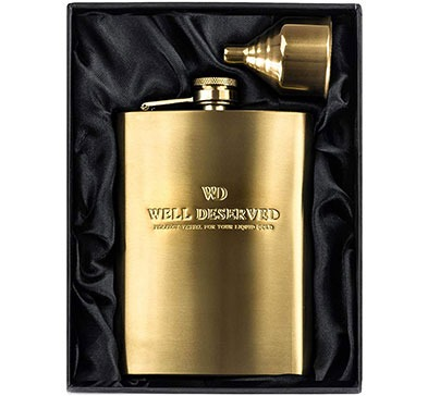 8oz Gold Flask For Liquor