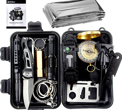 Emergency outdoor survival gear tool 13 pcs with survival bracelet, small flashlight, emergency blanket whistles. Waterproof case.
