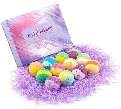 Handmade 12 essential oil bath bombs each in other scent. Each bath bomb will give you a unique bathing experience. 100% natural and organic.