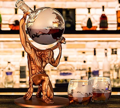 Atlas Man Whiskey Decanter Globe Set