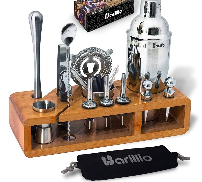 Elite 23-piece bartender kit with bamboo stand for bar tools storage. Everything you need to serve your guests with style.