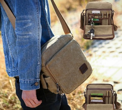 A small shoulder bag made of canvas that can be used as a travel bag or multi-pocket purse. It keeps all your things organized and easily accessible at all times.