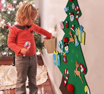 Christmas Tree Set with Ornaments for Kids