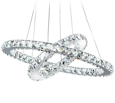 This circle crystal chandelier going to make your living room looks so unique. Adjustable hanging length and changeable shape.