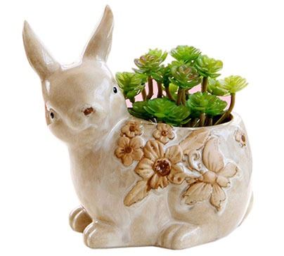 Lovely Ceramic Pot in the Shape of a Rabbit