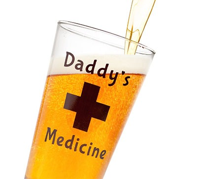 Daddy's Medicine Funny Beer Glass