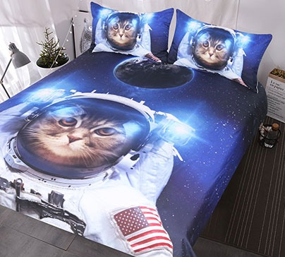 Funny Space Cat Bedding Set