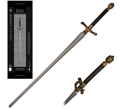 Excellent replica of Needle sword from Game of Thrones. Made from urethane foam rubber with a solid core fiberglass rod. The sword is in a collectible box with the Game of Thrones logo.