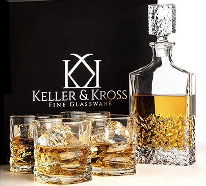 Gold Class Whiskey Decanter and Glass Set