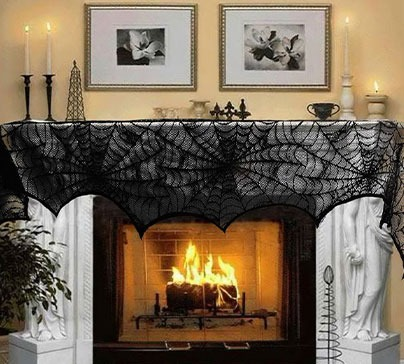 Halloween Decoration Black Lace Spiderweb
