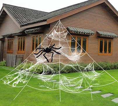 Halloween Decoration Mega Spider with Stretch Cobweb