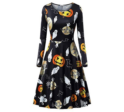 Halloween Long Sleeve Flared Party Dress