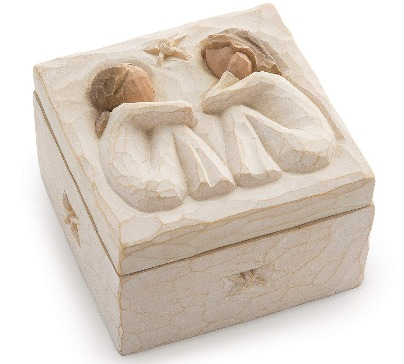 """Hand-painted resin friendship keepsake box with bas-relief carving on lid. Sentiment written inside box: """"Forever true, forever friends""""."""