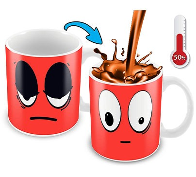 Heat Sensitive Mug Cartoon Smiley Face