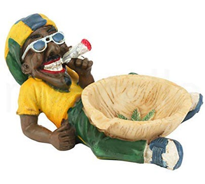Jamaican Man Holding Cigarette Ashtray