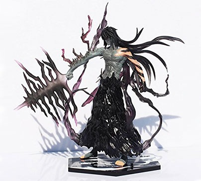 Figurine of Kurosaki Ichigo in Getsuga Tenshou transform from the Bleach anime. It is made of PVC with dimensions 7.9 inches. An excellent gift for Bleach anime fans.