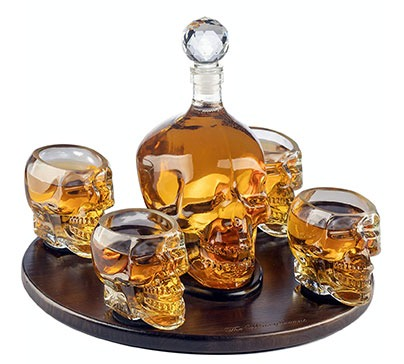 Large Skull Face Decanter with 4 Skull Shot Glasses