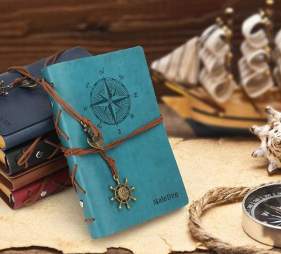 Retro refillable notebook made of high quality PU leather with two retro pendants. Can be used as a sketchbook, notebook, diary and a lot more.