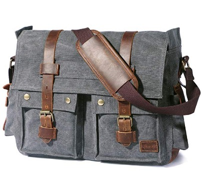 "Men's shoulder bag crafted out of durable canvas and leather. Large size bag offers you multiple pockets including space for laptop up to 17.3""."