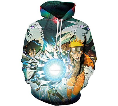 Naruto 3D Print Pullover Hoodie