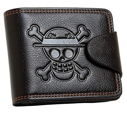 Leathercraft bi-fold wallet based on the One Piece anime series. Inside a transparent ID slot and many card slots. Great gift for One Piece lovers.