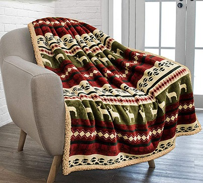 Plush Sherpa Throw Christmas Blanket