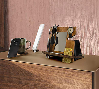 Handmade desk organizer for smartphone, tablet, watch, wallet, shades, keys coins, with built-in mirror & card holder. Set of 3 pieces.