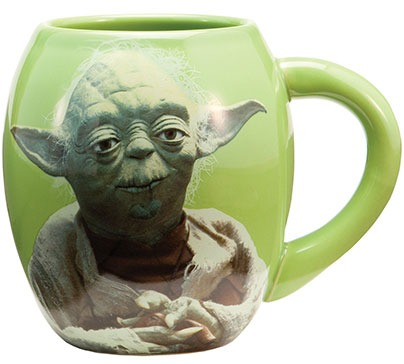 "Oval ceramic mug in green color with Yoda picture on one side and printed text ""May the force be with you"" on opposite side. Great gift for those that love Star Wars. The mug is microwave and dishwasher safe."