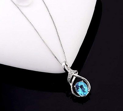 Sterling Silver Necklace With Swiss Blue Topaz