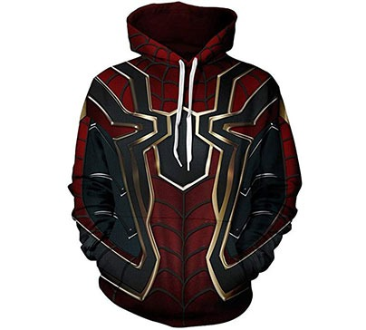 A cool-looking Halloween hoodie inspired by Spider-Man movies. The hoodie is made mainly of polyester and is also available in other styles.