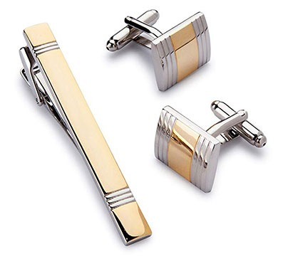 Two Tone Golden Cufflink and Tie-Clip Set