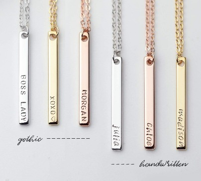 Unique Gold bar necklace with your name