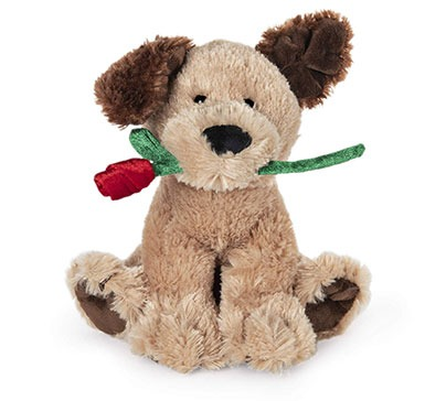Valentine's Day Dog Holding Red Rose