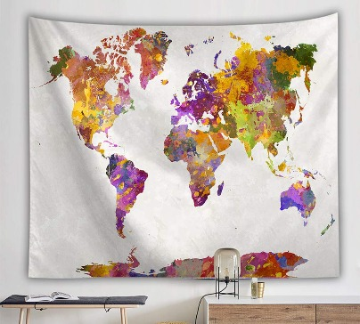 Wall Hanging World Map Tapestry