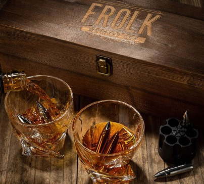 Everything you need to impress your buddies with cold drinks without any thinning or change of taste. The set is in a original handmade wooden box.