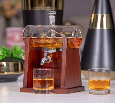 Whiskey Decanter Set With 2 Glasses & Wooden Stand