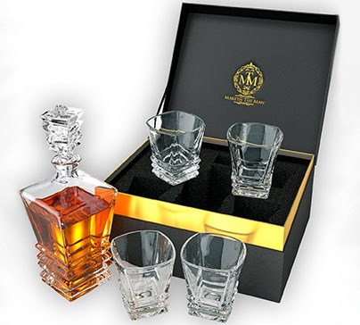 Whiskey Decanter Set With 4 Glasses In Elegant Gift Box