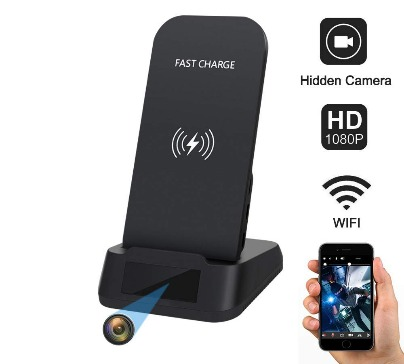 Wireless Phone Charger Hidden Spy Camera