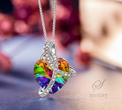 An elegant women's necklace with a colorful heart made of Swarovski crystals. The perfect gift for women you love. Comes in a fashionable gift box.