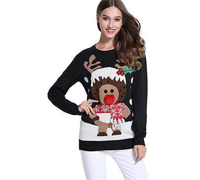 Women's Christmas Cute Reindeer Knitted Sweater