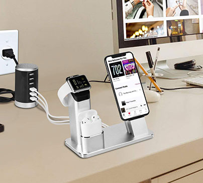 Apple Dock Station and Charger for your iphone. Keep your hands free when you are watching something or speaking with someone.